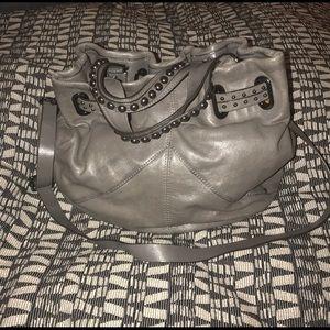 Grey gray banana republic leather hobo stud bag